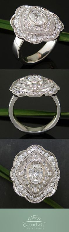 Estate-like ring in palladium with custom bead and bezel set diamonds