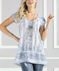 Look at this #zulilyfind! White & Blue Floral Shirred-Shoulder Scoop Neck Top - Plus Too #zulilyfinds