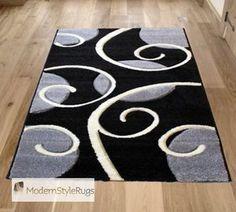 Black White Gray Area Rug Grey Swirly Circles Pattern In