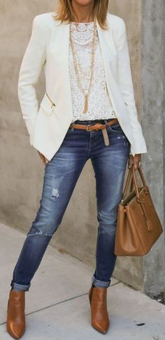 cool office style / white blazer + lace blouse + bag + brown boots + jeans