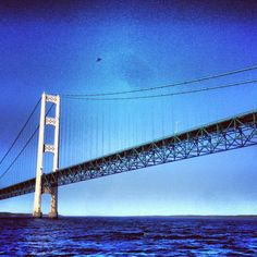 View from the water of the Mackinac Bridge