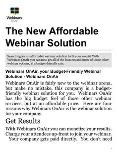 Searching for a budget-friendly webinar solution to fit your businesses needs? Webinars OnAir has the big budget feel at a budget-friendly rate. Budgeting, Internet, Feelings, Budget Organization