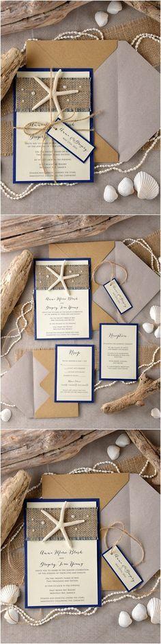Blue rustic country burlap beach wedding invitations #weddinginvitations #rustic…