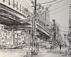 Artist - Itsuo Kiritani   Title - Roppongi Dori(六本木通り)   Dimensions - (19cm x 24cm)  Year - 2002  Media - Pen and Ink on Paper   Exhibition - ANA InterContinental Tokyo  Nov. 9, 2015 - Feb. 9, 2016     Inquiry