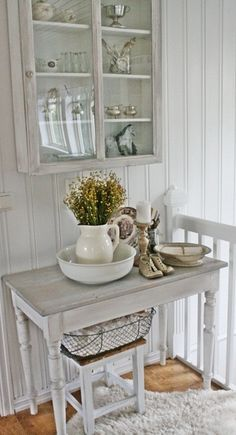♥♥♥ this old cabinet all worn, chipped and distressed, yet with shiny perfect glass :)