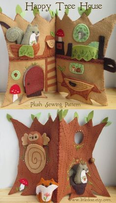 Sew an adorable woodland animal treehouse quiet book with this fun and easy PDF sewing pattern from little dear! Felt Crafts Diy, Fall Crafts, Fabric Crafts, Sewing Crafts, Sewing Projects, Diy For Kids, Crafts For Kids, Arts And Crafts, Pdf Sewing Patterns