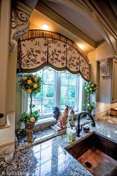 Gorgeous French Country Kitchen interior design ideas and decor ~ Custom Window Treatments. Maybe not this fabric but I love the idea for the kitchen window treatments Kitchen Window Coverings, Kitchen Window Treatments, Custom Window Treatments, Kitchen Curtains, Kitchen Windows, Window Curtains, Room Window, Window Ledge, Burlap Curtains