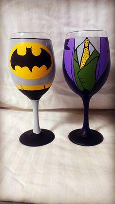 Superhero and Villain inspired hand painted wine by AWhimsicalHoot