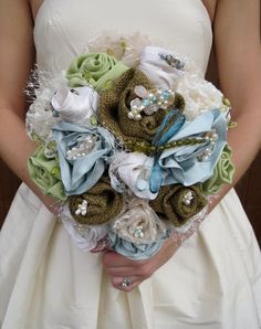 Bridal Bouquet Burlap, Silk Lace, Netting, Crystal, Citrine, Aqua marine Natural stones Jewelry.