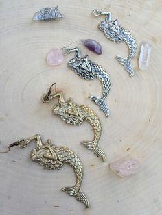 These are so fun! Mermaid earrings! #mermaid #earrings #giftideashttps://www.etsy.com/listing/259437868/mermaid-jewelry-gold-burnished-silver