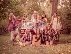 Bohemian holiday. Hippie friends Camp out. Camper van campfire guitar playing