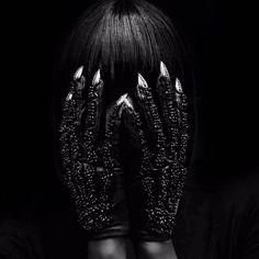 Amazing 'Beaded Bones Gemmed Stiletto Nail Gloves' by @majestyblack [Model @dayanareeves | Photo @viktorherak]  via BEAUTIFUL BIZARRE MAGAZINE OFFICIAL INSTAGRAM - Celebrity  Fashion  Haute Couture  Advertising  Culture  Beauty  Editorial Photography  Magazine Covers  Supermodels  Runway Models