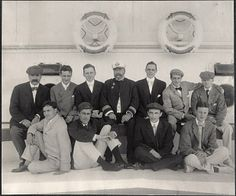 Group photo of Harvard alumni including Nicolas Longworth (upper left) aboard SS Manchuria. Photo by Burr McIntosh.