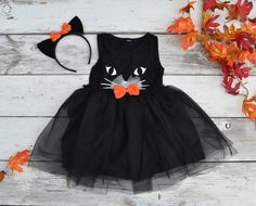 Black Cat Tutu Dress Halloween Costume Kitty Ears