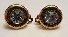 Vintage KJL for Avon rhinestone gold tone clip earrings #vintage #jewelry #ebay