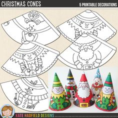 Easy Christmas Cone craft for kids! Just print, cut out and colour in! Christmas Cones printables from Kate Hadfield Designs