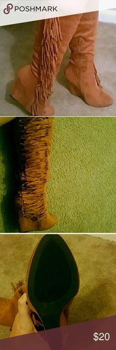 Wedge boots knee high fringe Brand new!  Side zip Size 6 Not ugg used for views I bought them from a Boutique store not sure what brand they are UGG Shoes Heeled Boots