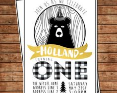 black white and gold modern bear first birthday party invitation