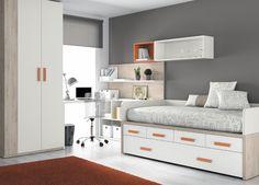 Kids Touch 27 Dormitorio juvenil Juvenil Camas Compactas y Nidos: Cama compacta con cajones, con escritorio y estanterías.