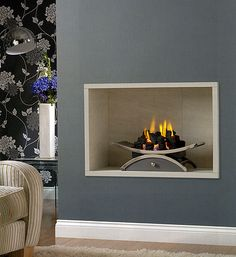 Hole in the Wall Open Gas Fires - Artisan Fireplace Design Bedroom Fireplace, Fireplace Wall, Fireplace Design, Fireplace Ideas, Wall Gas Fires, Fire Surround, Small Spaces, Living Room, Interior Design
