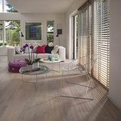 Turn your home into a stylish space that will be envied by all with the designer Kahrs oak Portfino engineered wood flooring. Each oak plank is finished with a white matt lacquer that gives the flooring a unique shade that will ooze a contemporary vibe. White Washed Oak, Sand Collection, Engineered Wood Floors, Outdoor Furniture Sets, Outdoor Decor, Room Interior, Dining Table, Flooring, The Originals