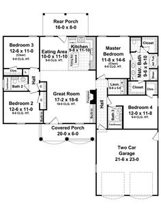 First Floor Plan of Country   European   Traditional   House Plan 59097