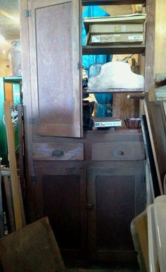"""This is a old cupboard.One door is off but I have it. has a drawer and cabinet space on top and bottom. it is 101"""" high 13"""" deep and 38.25 """" wide. 