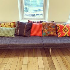 Take a seat with these colorful pillows found @ @Herman Miller, Inc.. #NeoCon #NeoCon14 #Neoconography