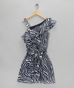 Take a look at this Blue & White Zebra Ruffle Dress by Elisa B. on #zulily today!