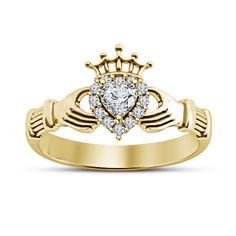 Simulated Diamond Heart Shape Claddagh Ring in 14k Yellow Gold Finish 925 Silver #Bacio2jewel #CladdaghRing #WeddinganniversaryGift
