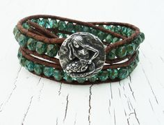 Mermaid Leather Wrap Bracelet Double Wrap by thehummingbead, $48.00