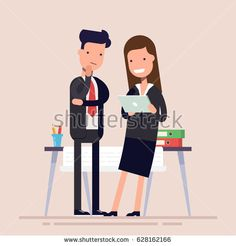 Business people man and woman enjoy tablet near the workplace. Joyful businesswoman and thoughtful businessman. Desktop in the office with documents and folders. Flat character isolated on background.