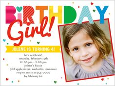 Birthday Stripes Girl 4x5 Invitation Card | Birthday Invitations | Shutterfly