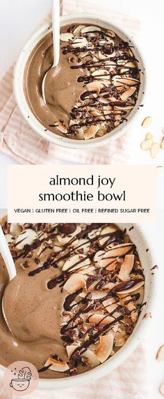 A high protein, candy bar inspired healthy Almond Joy Smoothie Bowl. Nourishing and perfect for your sweet tooth. Vegan, gluten free, refined sugar free, high protein. #vegan #smoothie #breakfast #almondjoy #chocolatesmoothie #chocolateecipes #smoothie #dairyfree #smoothiebowl #nicecream #veganbreakfast #breakfastideas #blenderrecipes #dairyfree #summerrecipes #healthydessert #healthybreakfast #highprotein #plantprotein Vegan Smoothie Recipes, Healthy Smoothies, Vegan Recipes, Protein Recipes, Protein Foods, Protein Cake, Protein Muffins, Protein Cookies, Healthy Vegan Breakfast