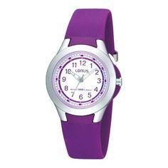 Lorus Kidshorloge R2313FX9. Een horloge met een paarse band, kunststof kast en band, 100 meter waterdicht. Er mag mee gezwommen worden. Met een wijzerplaat voorzien van cijfers.
