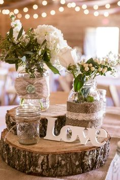 Burlap-wrapped Mason jars are probably the easiest decoration to make for a rustic wedding or Valentine's dinner. Our rustic wooden tree log slices would look gorgeous with these jars. We have 3D letters too that are ready to be decorated. Look at our inspirational selection at www.craftmill.co.uk for rustic Valentine's and wedding decorations.