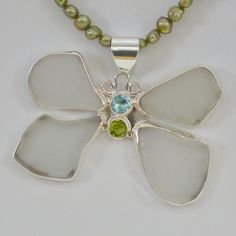 Handmade sterling silver and sea glass butterfly pendant by Jenstones