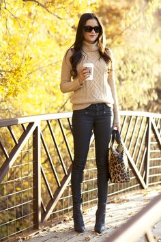 Cute autumn look - Cable Knit Turtleneck