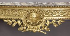Louis XVI style carved marble top console table