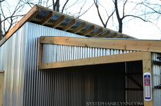 Outdoor storage and garden shed idea! Love the corrigated metal. Outside Storage, Outdoor Storage Sheds, Outdoor Sheds, Shed Storage, Built In Storage, Outdoor Spaces, Outdoor Living, Outdoor Decor, Outdoor Buildings