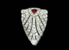 Art Deco Rhinestone Dress Clip  Vintage Red and by thejewelseeker