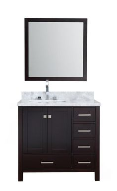 Ariel Cambridge Free Standing Vanity Set with Wood Cabinet Marb Espresso Fixture Vanity Single Wood, Rectangular, Rectangular Sink Bathroom, Cabinet, Marble Vanity Tops, Mirror Frames, Wood Cabinets, Undermount Sink, Vanity Set