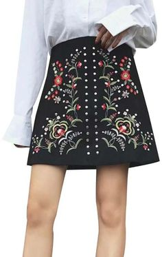 Trendy-Road-Style-Shop-Online-Woman-Fashion-Street-skirt-studded-suede-floral-embroidery-black Suede Skirt, Womens Fashion For Work, Vintage Skirt, Floral Embroidery, Street Style Women, Mini Skirts, Woman Fashion, Formal, Casual