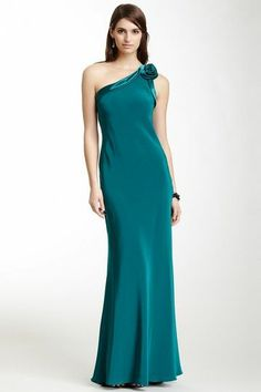 A.B.S. by Allen Schwartz Dull & Shiny One Shoulder Rosette Gown