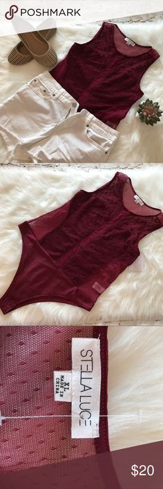 Burgundy Bodysuit Gorgeous burgundy bodysuit it with beautiful details print in the from NWT size XL snap bottom closure Stella Luce Tops
