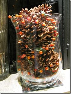 simple fall decor with pine cones                                                                                                                                                                                 More