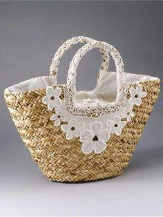 Trendy Beachwear for the Summer Straw Basket Bag Straw Handbags, Purses And Handbags, Lace Bag, Diy Sac, Ethnic Bag, Straw Tote, Boho Bags, Craft Bags, Basket Bag