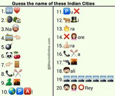 Whatsapp Puzzles: Guess the Indian City Names From Emoticons and Smileys Emoji Quiz, Emoji Games, Puzzles And Answers, Riddles With Answers, Funny Party Games, Dinner Party Games, Emoji Puzzle, Cartoon Puzzle, Uni
