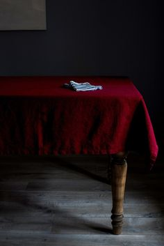 Burgundy Washed Linen Tablecloth