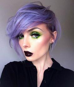 inspired by @jessicahazemua to try lime eyes  || BROWS: @anastasiabeverlyhills 'Granite' | EYES: @sugarpill 'Acidberry' & @meltcosmetics 'Xenon' | BLUSH: @makeupgeekcosmetics 'Spellbound' | LIPS: @smashboxcosmetics 'Witchy' & 'Blackmail' ✌️️